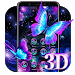 3D Neon Butterfly Shiny Theme