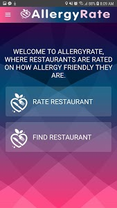 screenshot of AllergyRate version 1.0