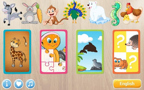 screenshot of Animals Puzzle for Kids 🦁🐰🐬🐮🐶🐵 version 2.7.0