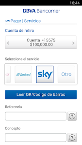 screenshot of Bancomer móvil. Operaciones sin ir al banco version 10.85.2