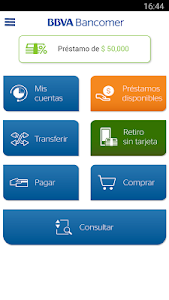 screenshot of Bancomer móvil. Operaciones sin ir al banco version 10.88
