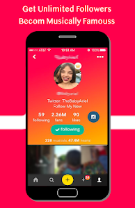 screenshot of Become Famous For Musically Likes & Followers version 0.0.1