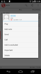 screenshot of Call Recorder - ACR version 9.2