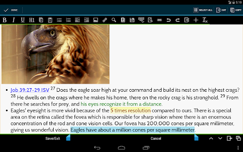 screenshot of MySword Bible version Varies with device
