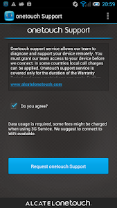 screenshot of ONE TOUCH Support version 1.0.71.1