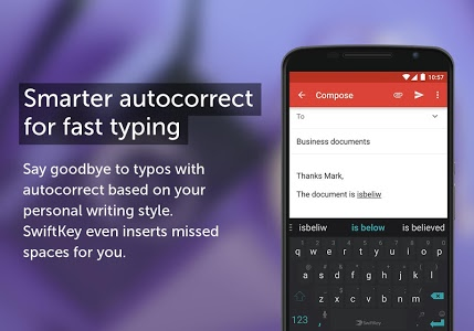 screenshot of SwiftKey Keyboard version Varies with device