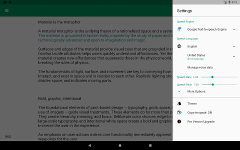 screenshot of T2S: Text to Voice - Read Aloud version 0.8.3