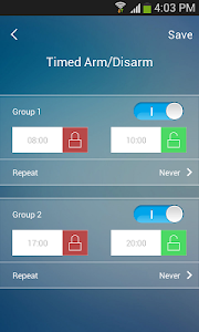screenshot of W020 Alarm version 11.8