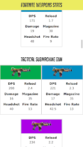 screenshot of Weapons Stats For Fortnite version 0.8.0