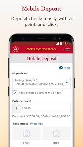 screenshot of Wells Fargo Mobile version 9.8.0.28