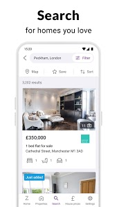 screenshot of Zoopla property search UK Homes to buy and rent version 4.1.2